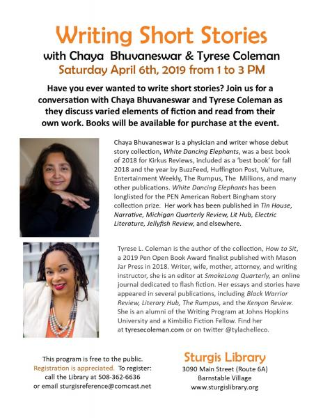 Writing Short Stories with Chaya Bhuvaneswar & Tyrese Coleman at